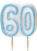Blue Glitz Birthday Cake Candle - 60